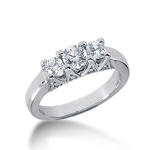 0.85 CT Diamond Fancy Anniversary Ring Round Cut 14k White Gold