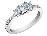 Diamond Engagement Ring and Three Stone Anniversary Ring 1/3 Carat (ctw) Princess Cut in 14K White Gold (Certified)