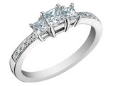 Princess Cut Diamond Engagement Ring and Three Stone Anniversary Ring 1/2 Carat (ctw) in 14K White Gold (Certified)