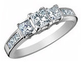 Three Stone Princess Cut Diamond Engagement Anniversary Ring 1.0 Carat (ctw) in 14K White Gold (Certified)