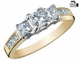 Three Stone Princess Cut Diamond Engagement Anniversary Ring 1.0 Carat (ctw) in 14K Yellow Gold (Certified)