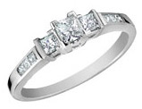 Three Stone Princess Cut Diamond Engagement Anniversary Ring 1/2 Carat (ctw) in 14K White Gold (Certified)