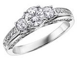 Diamond Engagement Ring and Three Stone Anniversary Ring 1/2 Carat (ctw) in 14K White Gold (Certified)