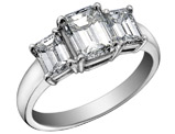 Diamond Engagement Ring and Three Stone Anniversary Ring 1/2 Carat (ctw) in 14K White Gold (SI1-SI2) (Certified)