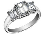 Diamond Engagement Ring and Three Stone Anniversary Ring 3/4 Carat (ctw) in 14K White Gold (SI1-SI2) (Certified)