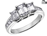 Diamond Engagement Ring and Three Stone Anniversary Ring 1 Carat (ctw) in 14K White Gold (Certified)