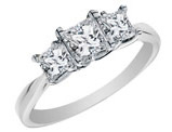 Certified Princess Cut Diamond Engagement Ring and Three Stone Anniversary Ring 1 Carat (ctw) in 14K White Gold