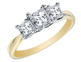 Princess Cut Diamond Engagement Ring and Three Stone Anniversary Ring 1 Carat (ctw) in 14K Yellow Gold (Certified)