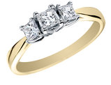 Princess Cut Diamond Engagement Ring and Three Stone Anniversary Ring 1/2 Carat (ctw) in 14K Yellow Gold (Certified)