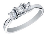 Certified Princess Cut Diamond Engagement Ring and Three Stone Anniversary Ring 1/2 Carat (ctw) in 14K White Gold