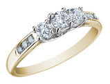 Three Stone Diamond Engagement Ring and Diamond Anniversary Ring 1/2 Carat (ctw) in 10K Yellow Gold (Certified)