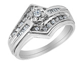 Diamond Engagement Ring & Wedding Band Set 1/4 Carat (ctw) in 14K White Gold