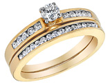 Diamond Engagement Ring & Wedding Band Set 1/2 Carat (ctw) in 10K Yellow Gold