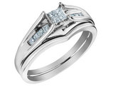 Princess Cut Diamond Engagement Ring & Wedding Band Set 1/4 Carat (ctw) in 14K White Gold