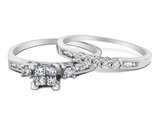 Princess Cut Diamond Engagement Ring & Wedding Band Set 1/2 Carat (ctw) in 10K White Gold