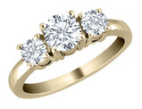 Diamond Three Stone Engagement Anniversary Ring 1 Carat (ctw) in 14K Yellow Gold