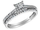 Princess Cut Diamond Engagement Ring and Wedding Band Set 2/5 Carat (ctw) in 10K White Gold