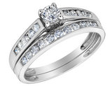 Diamond Engagement Ring and Wedding Band Set 1/2 Carat (ctw) in 14K White Gold