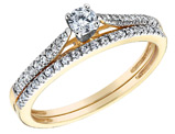 Diamond Engagement Ring and Wedding Band Set 2/5 Carat (ctw) in 10K Yellow Gold