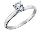 Diamond Solitaire Engagement Ring 1/5 Carat (ctw) in 10K White Gold