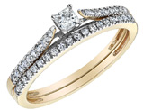 Princess Cut Diamond Engagement Ring and Wedding Band Set 2/5 Carat (ctw) in 10K Yellow Gold