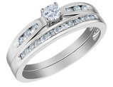 Diamond Engagement Ring & Wedding Band Set 1/3 Carat (ctw) in 14K White Gold
