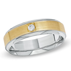 Men's 0.08 CT Diamond Solitaire Wedding Band in 10K Two-Tone Gold - Size 10