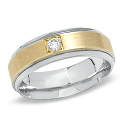 Ladies' 0.08 CT. Diamond Solitaire Wedding Band in 10K Two-Tone Gold - Size 7