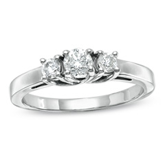0.50 CT. T.W. Diamond Three Stone Anniversary Ring in 14K White Gold