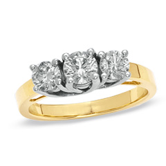 1.00 CT. T.W. Diamond Three Stone Anniversary Ring in 14K Gold