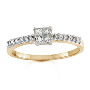 14k Yellow Gold, Princess & Round Diamond Engagement Ring (0.35 ctw)