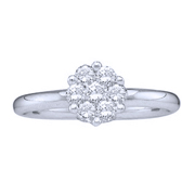 14k White Gold, Round Diamond Flower Cluster Solitaire Ring (0.25 ctw)