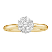 14k Yellow Gold, Round Diamond Flower Cluster Solitaire Ring (0.25 ctw)