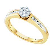 1/3 Carat Diamond Yellow Gold Cluster Flower Engagement Ring