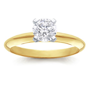 1/4 Carat Round Diamond 14k Yellow Gold Solitaire Engagement Ring