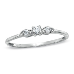 1/10 CT. T.W. Diamond Three Stone Ring in 10K White Gold