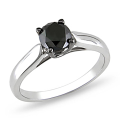1 CT. Enhanced Black Diamond Engagement Ring in Sterling Silver