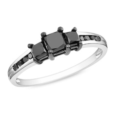 1 CT. T.W. Princess-Cut Enhanced Black Diamond Three Stone Ring in Sterling Silver