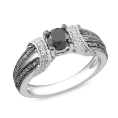 1 CT. T.W. Enhanced Black and White Diamond Station Engagement Ring in Sterling Silver