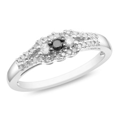 1/4 CT. T.W. Enhanced Black and White Diamond Three Stone Promise Ring in Sterling Silver