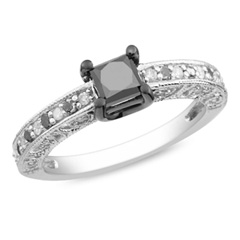1 CT. T.W. Princess-Cut Enhanced Black and White Diamond Engagement Ring in Sterling Silver