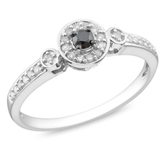 1/4 CT. T.W. Enhanced Black and White Diamond Frame Engagement Ring in Sterling Silver