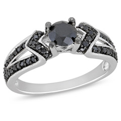 1 CT. T.W. Enhanced Black Diamond Engagement Ring in Sterling Silver