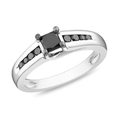 1/2 CT. T.W. Princess-Cut Enhanced Black Diamond Engagement Ring in Sterling Silver