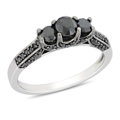 1 CT. T.W. Enhanced Black Diamond Three Stone Engagement Ring in Sterling Silver