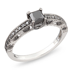 1 CT. T.W. Princess-Cut Enhanced Black Diamond Engagement Ring in Sterling Silver