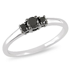 1/4 CT. T.W. Enhanced Black Diamond Three Stone Ring in 10K White Gold