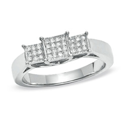 1/8 CT. T.W. Composite Princess Diamond Three Stone Ring in 10K White Gold