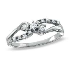 1/6 CT. T.W. Diamond Three Stone Twine Promise Ring in 10K White Gold